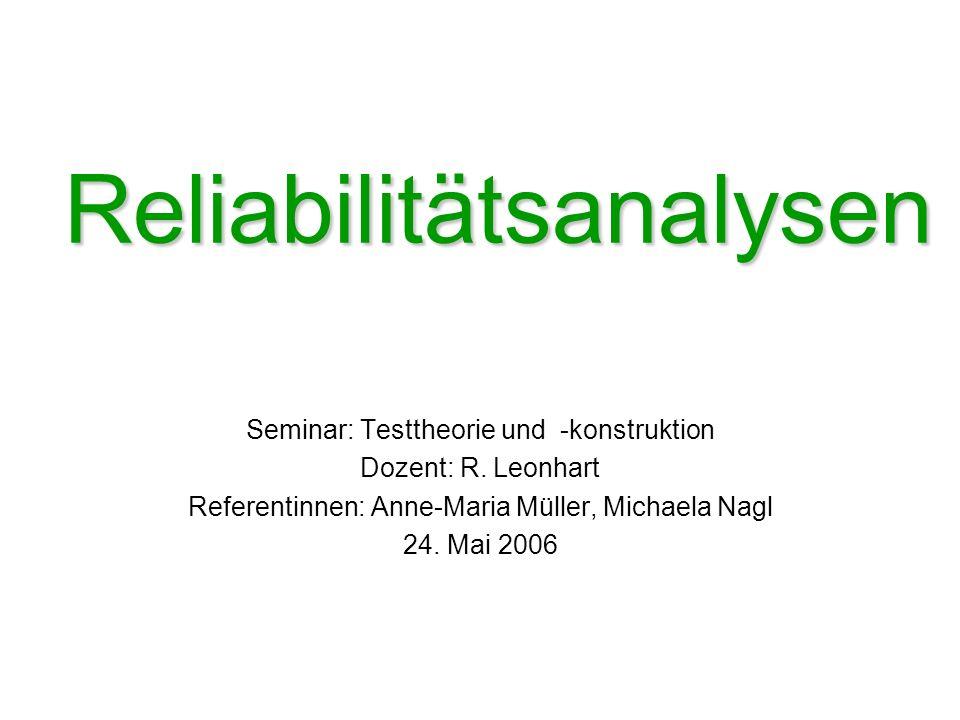 Reliabilitätsanalysen