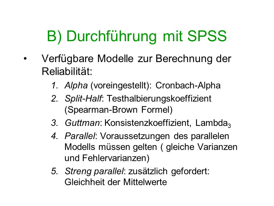 B) Durchführung mit SPSS