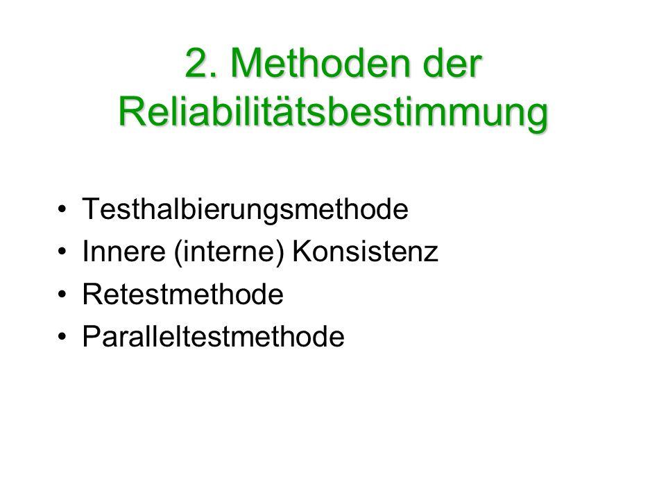 2. Methoden der Reliabilitätsbestimmung