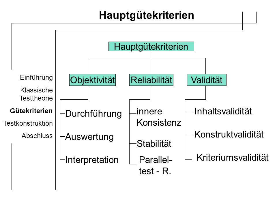 Hauptgütekriterien Hauptgütekriterien Objektivität Reliabilität