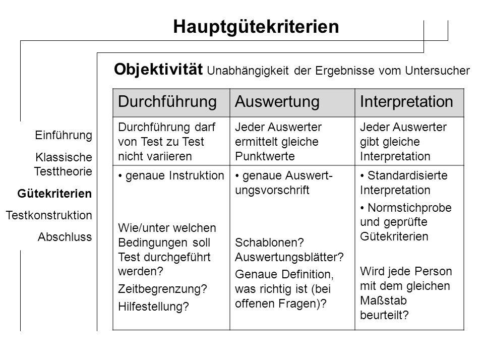 Hauptgütekriterien Objektivität Durchführung Auswertung Interpretation