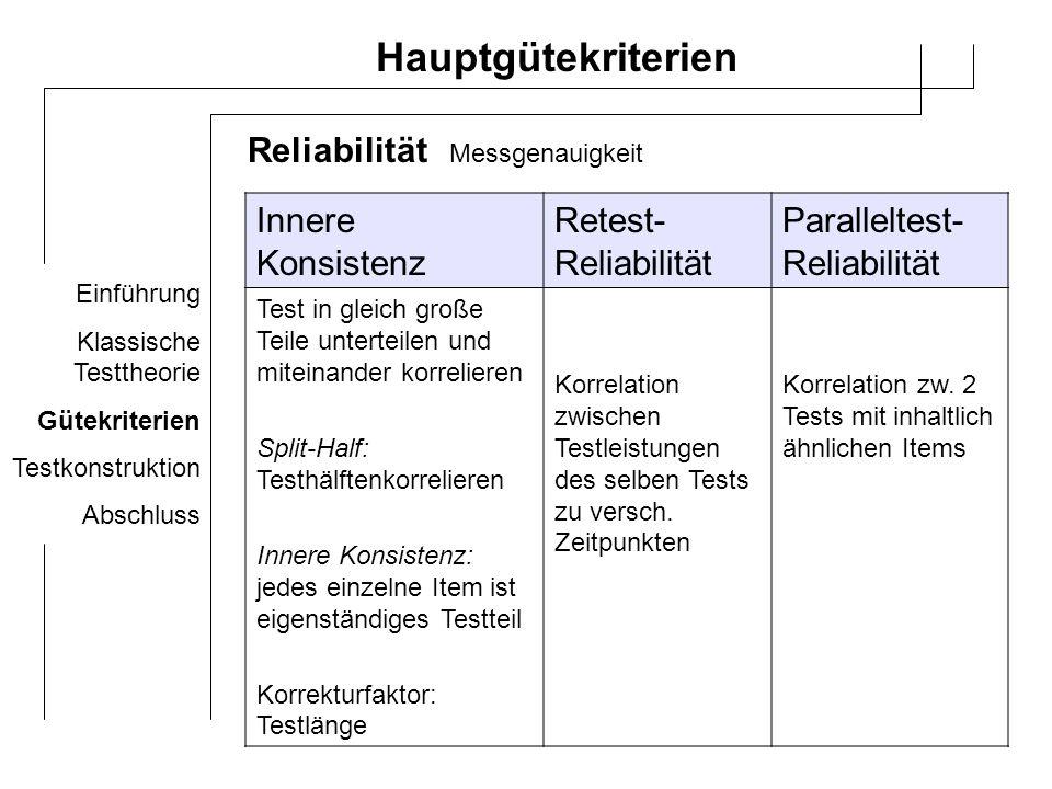 Hauptgütekriterien Reliabilität Innere Konsistenz Retest-Reliabilität