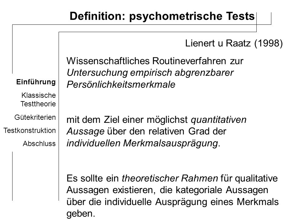 Definition: psychometrische Tests