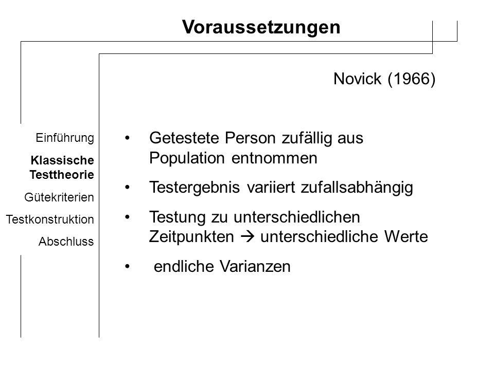Voraussetzungen Novick (1966)