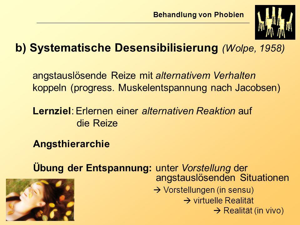 b) Systematische Desensibilisierung (Wolpe, 1958)
