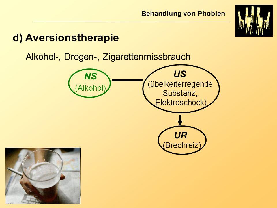 d) Aversionstherapie Alkohol-, Drogen-, Zigarettenmissbrauch US NS UR
