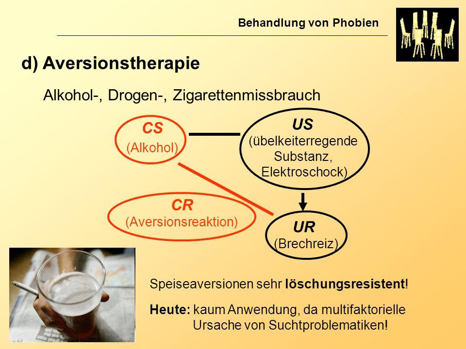 d) Aversionstherapie Alkohol-, Drogen-, Zigarettenmissbrauch US CS CR