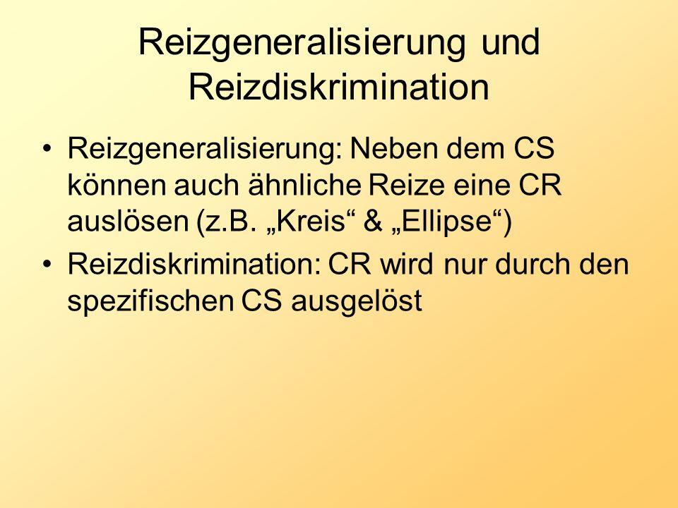 Reizgeneralisierung und Reizdiskrimination