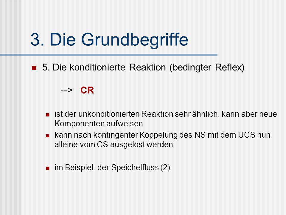 3. Die Grundbegriffe 5. Die konditionierte Reaktion (bedingter Reflex) --> CR.