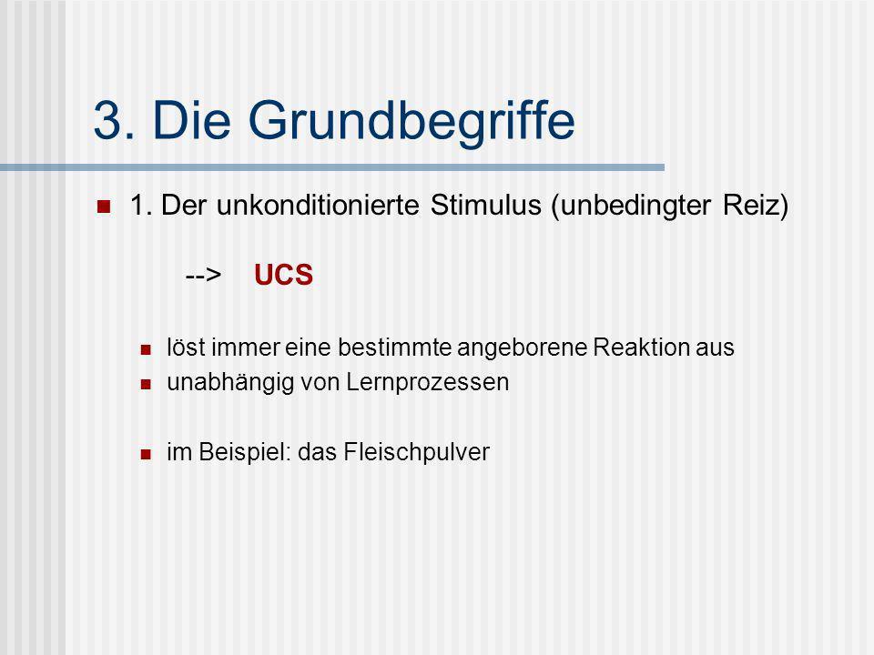 3. Die Grundbegriffe 1. Der unkonditionierte Stimulus (unbedingter Reiz) --> UCS. löst immer eine bestimmte angeborene Reaktion aus.
