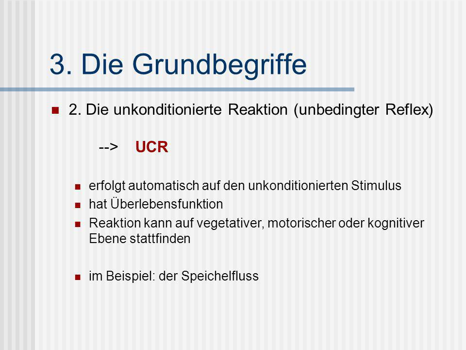 3. Die Grundbegriffe 2. Die unkonditionierte Reaktion (unbedingter Reflex) --> UCR.