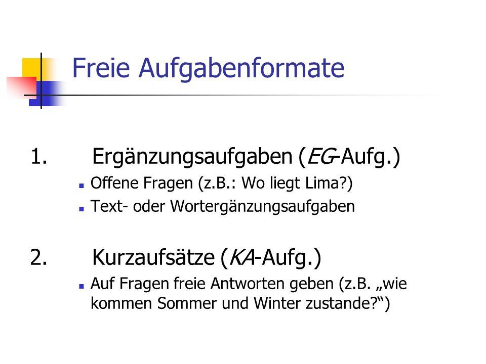 Freie Aufgabenformate
