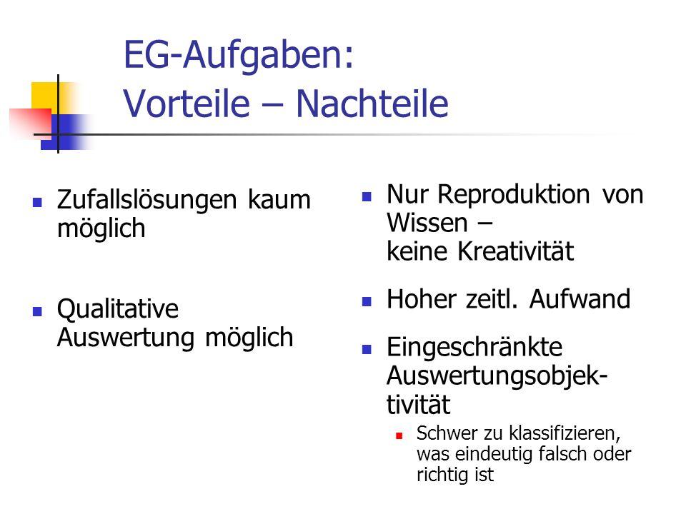 EG-Aufgaben: Vorteile – Nachteile