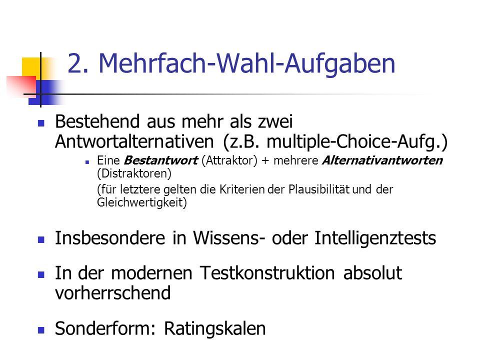 2. Mehrfach-Wahl-Aufgaben