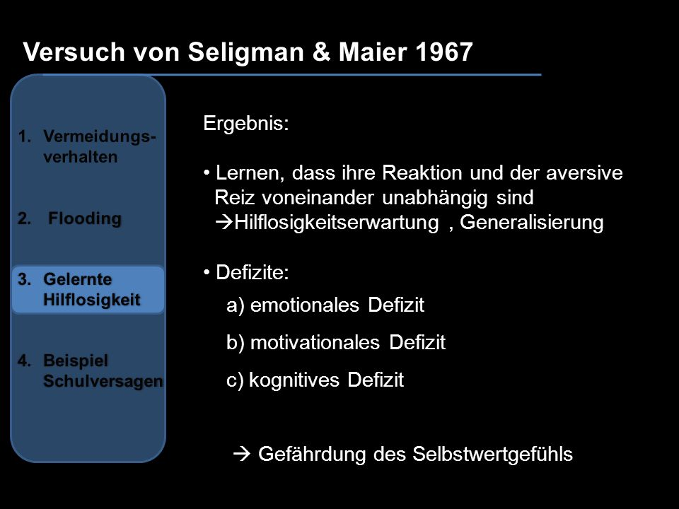 Versuch von Seligman & Maier 1967