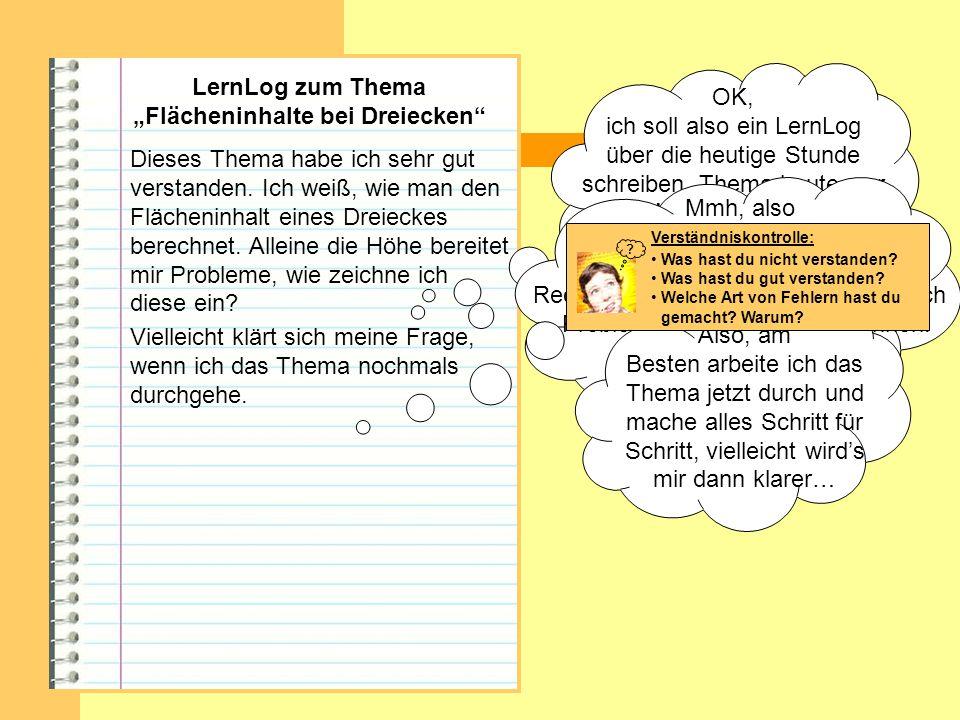 """LernLog zum Thema """"Flächeninhalte bei Dreiecken"""