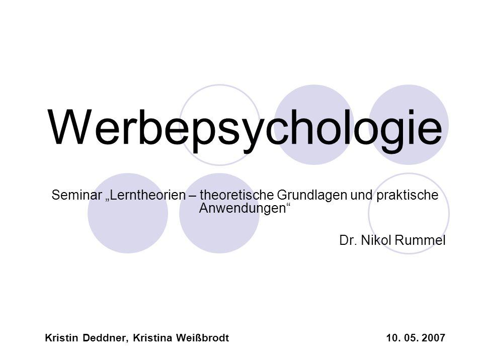 """WerbepsychologieSeminar """"Lerntheorien – theoretische Grundlagen und praktische Anwendungen Dr. Nikol Rummel."""
