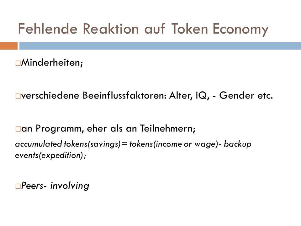 Fehlende Reaktion auf Token Economy