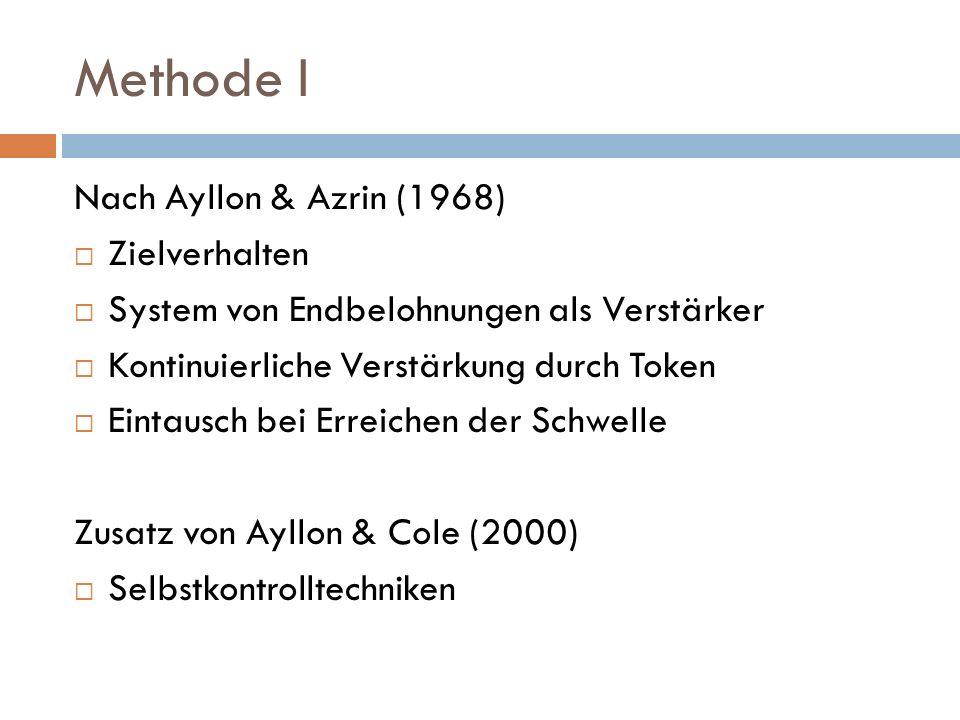 Methode I Nach Ayllon & Azrin (1968) Zielverhalten