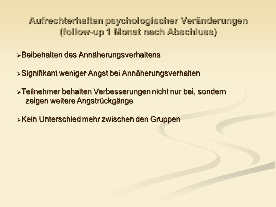 Aufrechterhalten psychologischer Veränderungen (follow-up 1 Monat nach Abschluss)