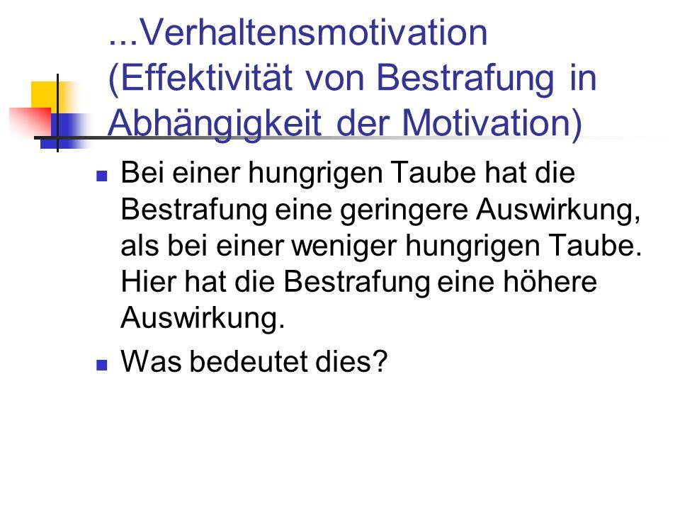 ...Verhaltensmotivation (Effektivität von Bestrafung in Abhängigkeit der Motivation)