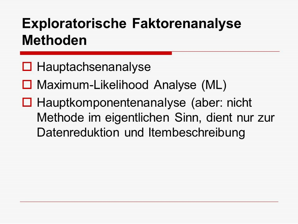 Exploratorische Faktorenanalyse Methoden
