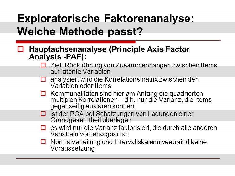 Exploratorische Faktorenanalyse: Welche Methode passt