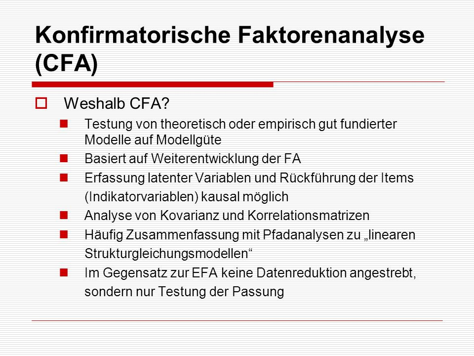 Konfirmatorische Faktorenanalyse (CFA)