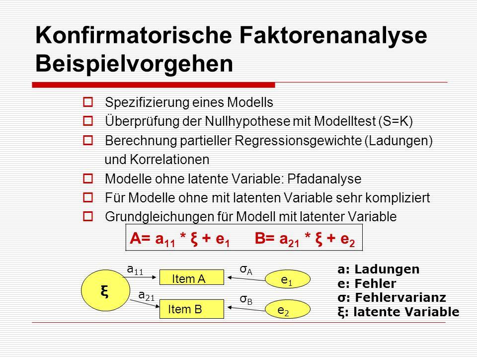 Konfirmatorische Faktorenanalyse Beispielvorgehen