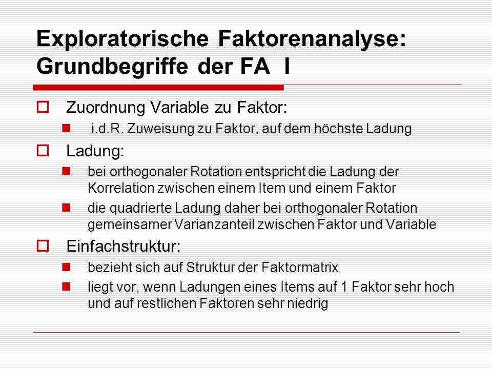 Exploratorische Faktorenanalyse: Grundbegriffe der FA I
