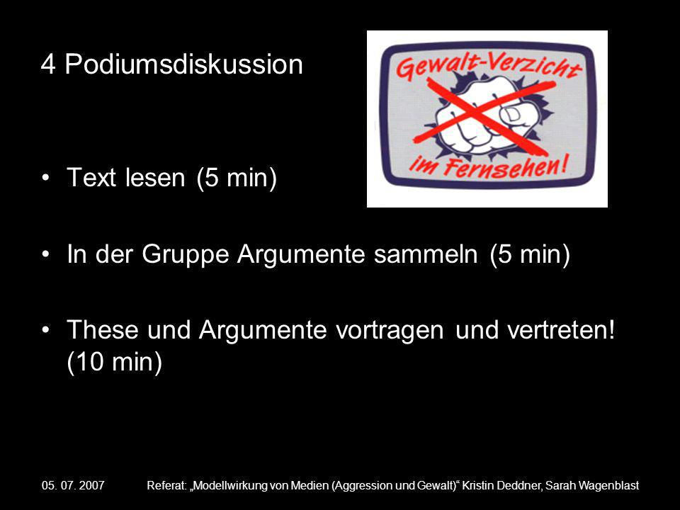4 Podiumsdiskussion Text lesen (5 min)