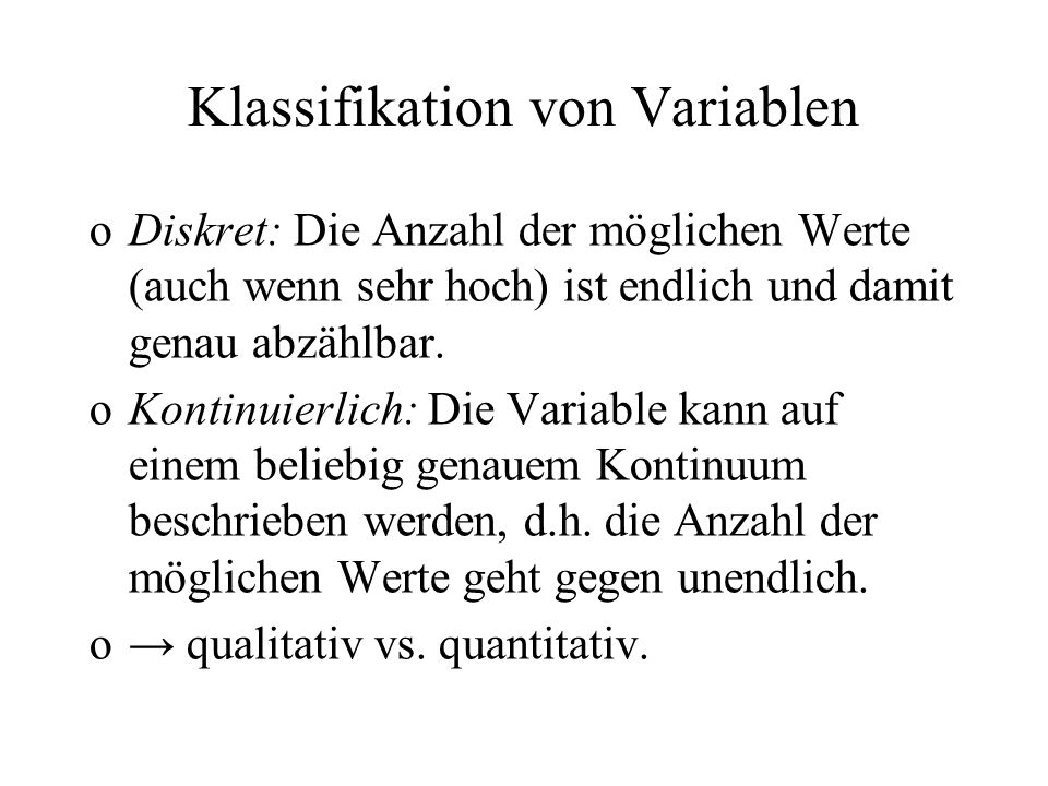 Klassifikation von Variablen