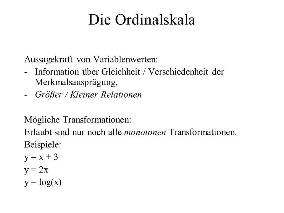 Die Ordinalskala Aussagekraft von Variablenwerten: