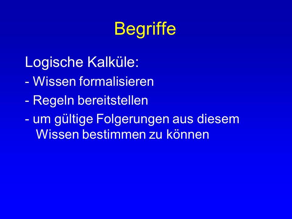 Begriffe Logische Kalküle: - Wissen formalisieren
