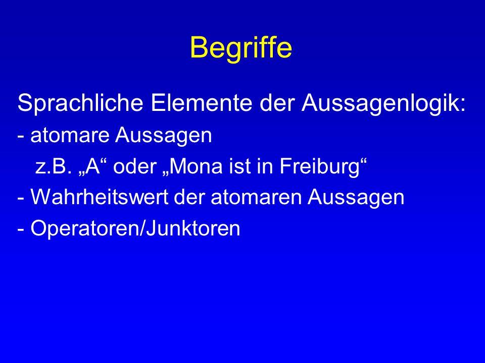 Begriffe Sprachliche Elemente der Aussagenlogik: - atomare Aussagen