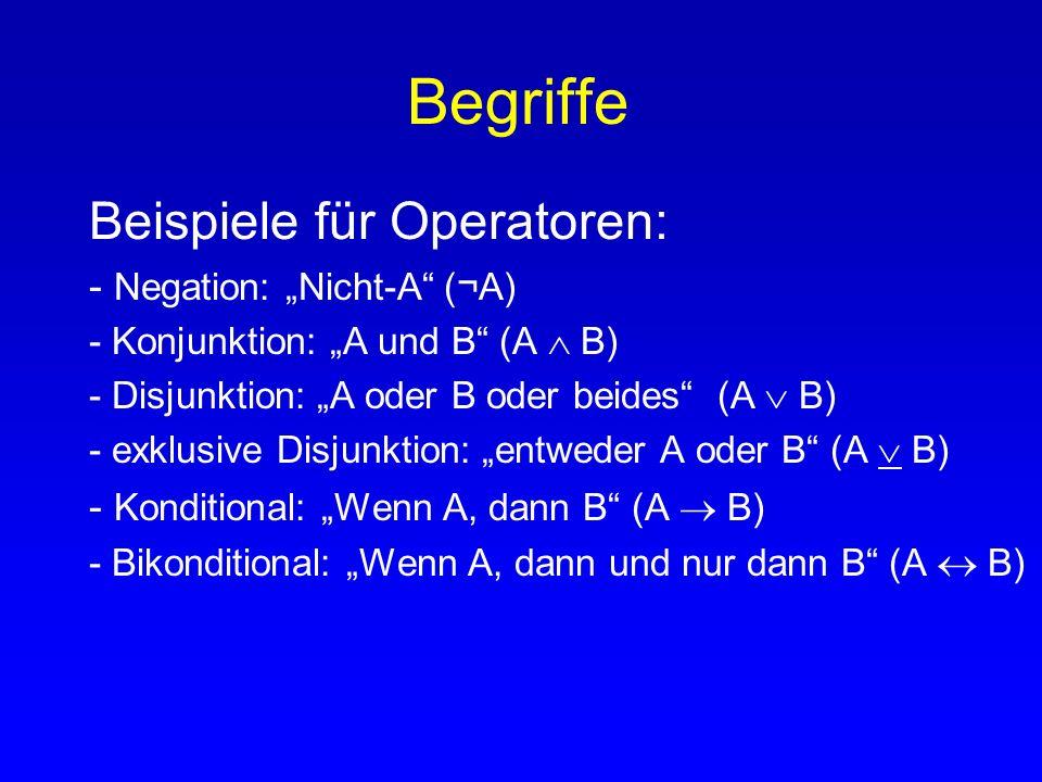 """Begriffe Beispiele für Operatoren: - Negation: """"Nicht-A (¬A)"""