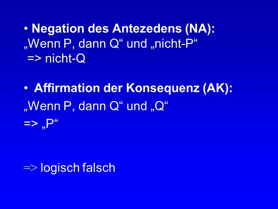 """Negation des Antezedens (NA): """"Wenn P, dann Q und """"nicht-P => nicht-Q"""