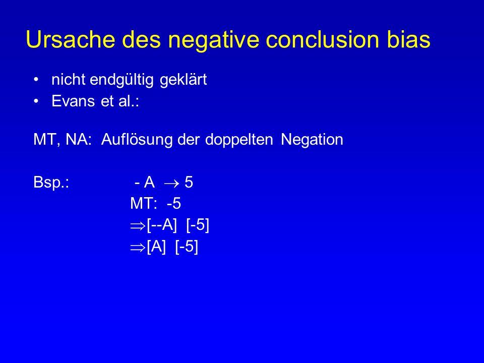 Ursache des negative conclusion bias