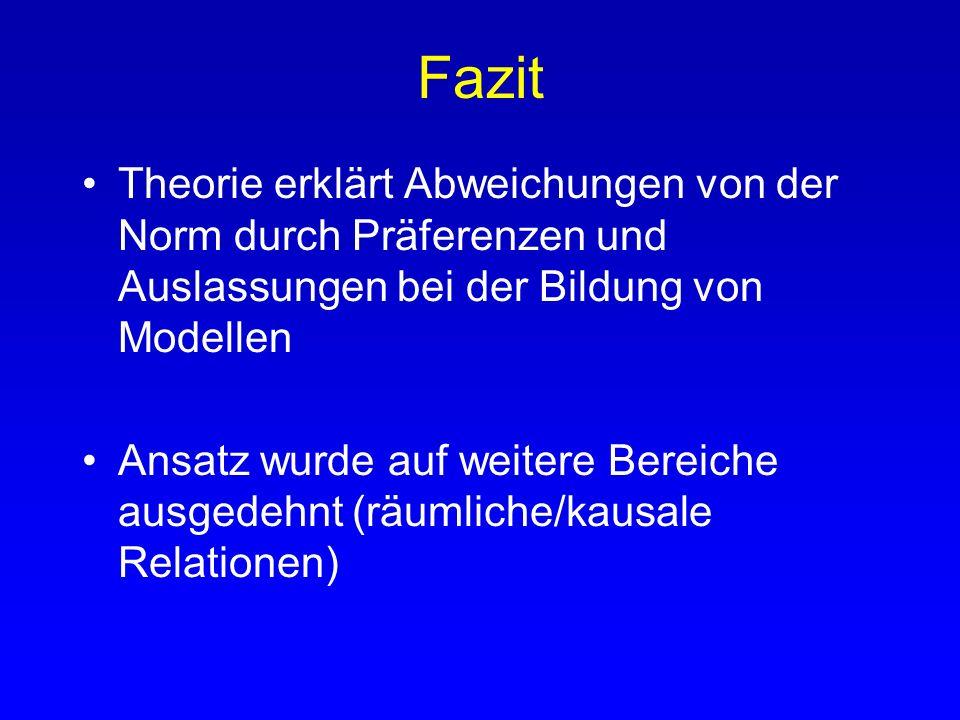 Fazit Theorie erklärt Abweichungen von der Norm durch Präferenzen und Auslassungen bei der Bildung von Modellen.