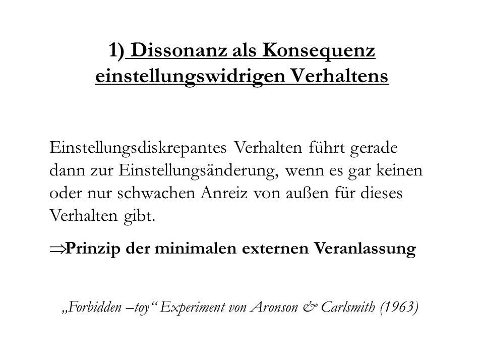 1) Dissonanz als Konsequenz einstellungswidrigen Verhaltens
