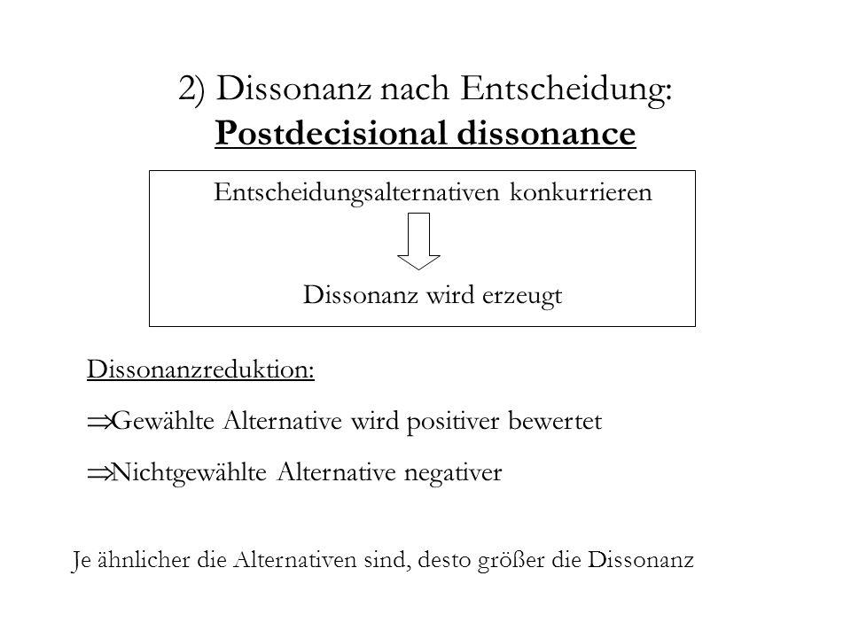 2) Dissonanz nach Entscheidung: Postdecisional dissonance