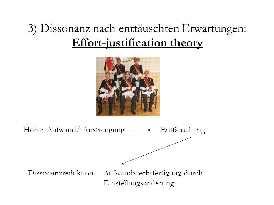 3) Dissonanz nach enttäuschten Erwartungen: Effort-justification theory