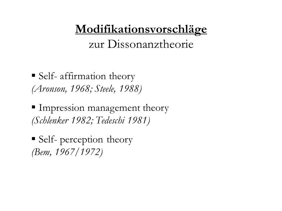Modifikationsvorschläge zur Dissonanztheorie