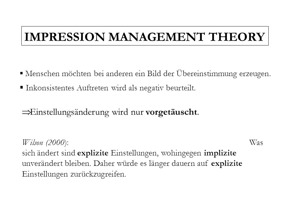 IMPRESSION MANAGEMENT THEORY