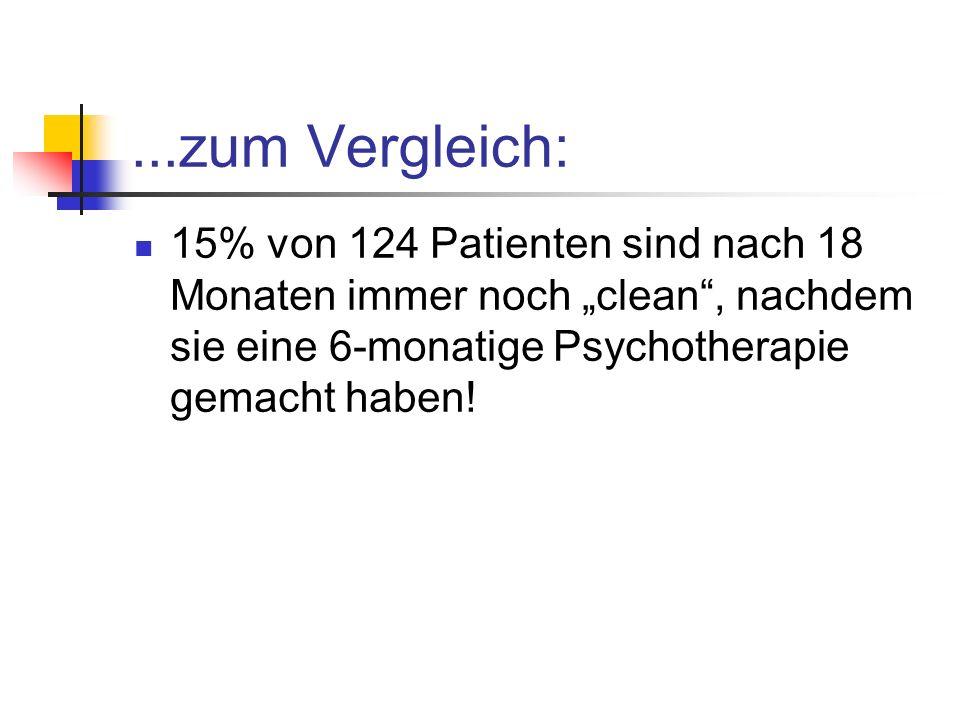 """...zum Vergleich: 15% von 124 Patienten sind nach 18 Monaten immer noch """"clean , nachdem sie eine 6-monatige Psychotherapie gemacht haben!"""