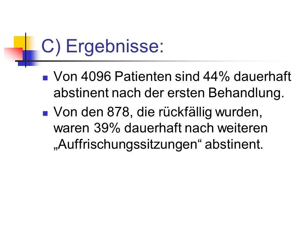 C) Ergebnisse: Von 4096 Patienten sind 44% dauerhaft abstinent nach der ersten Behandlung.