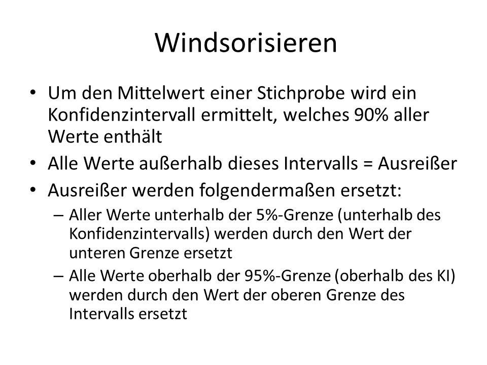 WindsorisierenUm den Mittelwert einer Stichprobe wird ein Konfidenzintervall ermittelt, welches 90% aller Werte enthält.