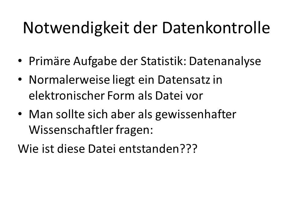 Notwendigkeit der Datenkontrolle