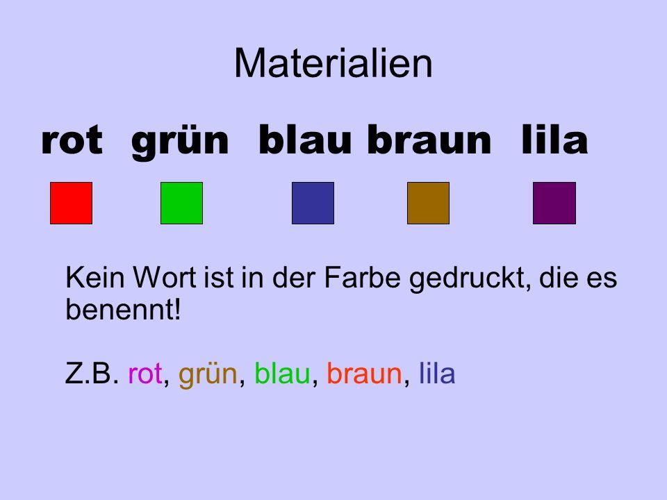 Materialien rot grün blau braun lila. Kein Wort ist in der Farbe gedruckt, die es benennt.