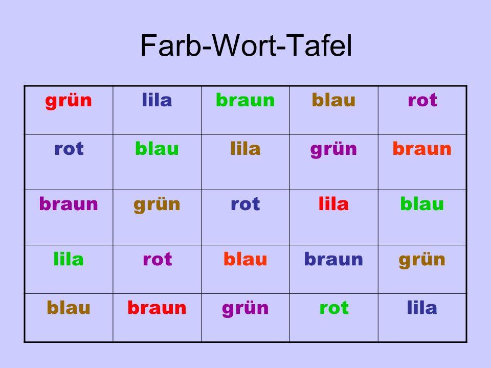 Farb-Wort-Tafel grün lila braun blau rot